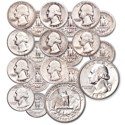 Image for 1932-1958 Low Mintage Washington Silver Quarter Set from Littleton Coin Company