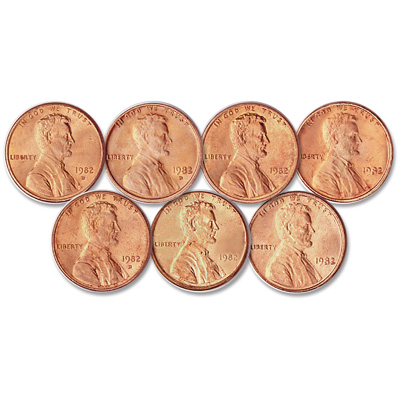 Image for Complete Set of 1982 Lincoln Cents (7 coins) from Littleton Coin Company