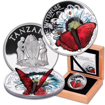 Image for 2016 Tanzania Silver 1000 Shillings 3D Butterfly from Littleton Coin Company