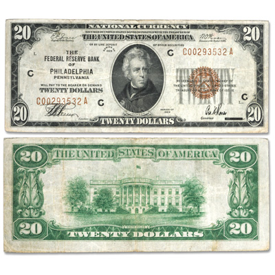 Image for Series 1929 $20 Federal Reserve Bank Note from Littleton Coin Company