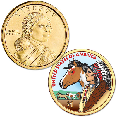 Image for 2012 Native American Dollar with Colorized Reverse from Littleton Coin Company
