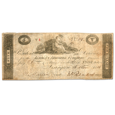 Image for 1814 $5 Kentucky Insurance Company Bank Note from Littleton Coin Company