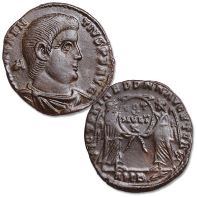 Image for A.D. 350-353 Magnentius Bronze Centenionalis, Bridgnorth Shropshire Hoard, Two Victories Reverse from Littleton Coin Company