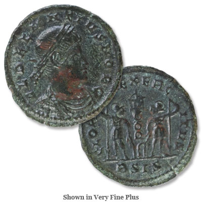 Image for A.D. 335-337 Delmatius Bronze Reduced Follis, Gloria Exercitus Reverse from Littleton Coin Company