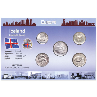 Image for Iceland Coin Set in Custom Holder from Littleton Coin Company