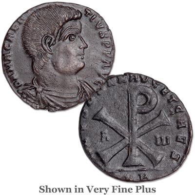 Image for A.D. 350-353 Magnentius Bronze Bridgnorth Shropshire Hoard Coin, Chi-Rho Reverse from Littleton Coin Company