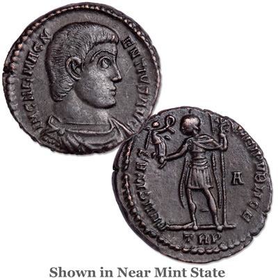 Image for A.D. 350-353 Magnentius Bronze Bridgnorth Shropshire Hoard Coin, Emperor Standing Reverse from Littleton Coin Company
