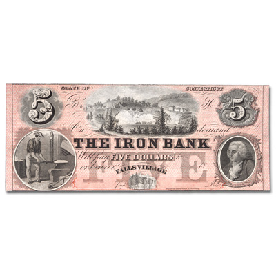 Image for 1850s-1860s $5 Falls Village, Connecticut Iron Bank from Littleton Coin Company