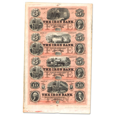 Image for 1850s-1860s Falls Village, Connecticut Iron Bank Uncut Sheet from Littleton Coin Company