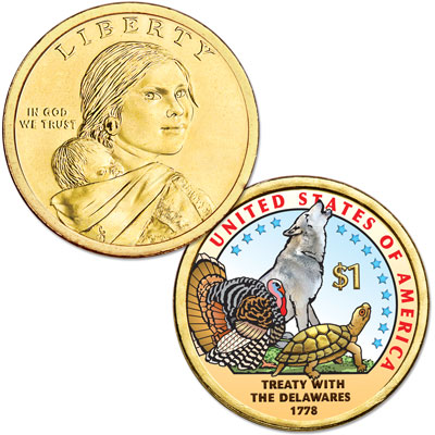 Image for 2013 Native American Dollar with Colorized Reverse from Littleton Coin Company