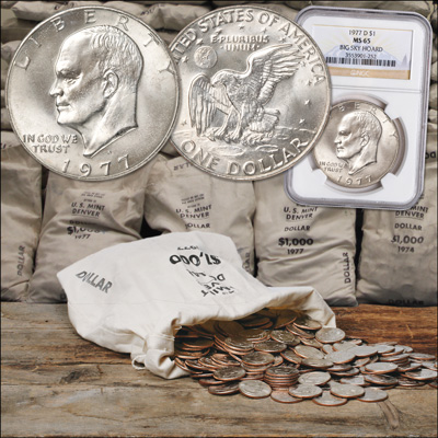 Image for 1977-D Eisenhower Dollar, Big Sky Hoard, with Club Enrollment from Littleton Coin Company