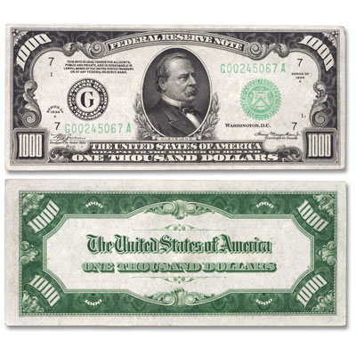 Image for Series 1934/1934A $1,000 Federal Reserve Note from Littleton Coin Company