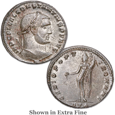 Image for A.D. 305-306 Constantius I Bronze-Silvered Follis from Littleton Coin Company