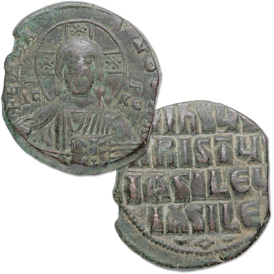 Image for A.D. 969-1094 Portrait of Christ Bronze Follis from Littleton Coin Company