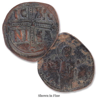 Image for A.D. 1034-1041 Michael IV Copper Follis, Christ Portrait from Littleton Coin Company