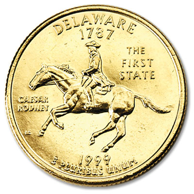 Image for 1999 Gold-Plated Delaware Quarter from Littleton Coin Company
