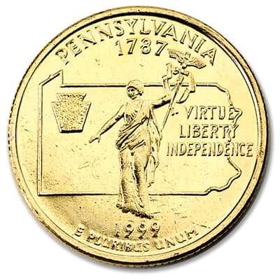 Image for 1999 Gold-Plated Pennsylvania Quarter from Littleton Coin Company