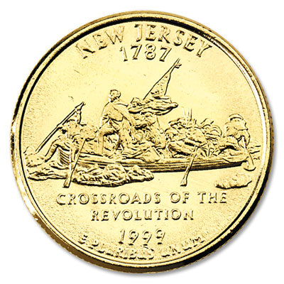 Image for 1999 Gold-Plated New Jersey Statehood Quarter from Littleton Coin Company