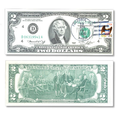 Image for 1976 $2 Federal Reserve Note 1st Day of Issue, with Stamp from Littleton Coin Company