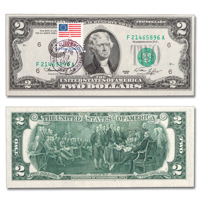 Image for 1976 $2 Federal Reserve Note, 1st Day of Issue, with Stamp from Littleton Coin Company