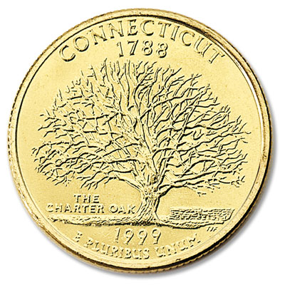 Image for 1999 Gold-Plated Connecticut Quarter from Littleton Coin Company