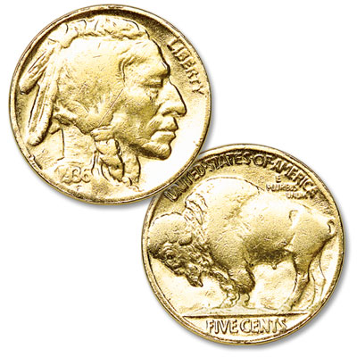 Image for Gold-Plated Buffalo Nickel from Littleton Coin Company