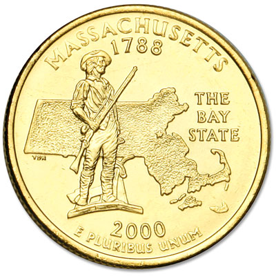 Image for 2000 Gold-Plated Massachusetts Statehood Quarter from Littleton Coin Company