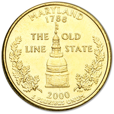 Image for 2000 Gold-Plated Maryland Quarter from Littleton Coin Company