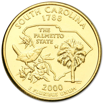 Image for 2000 Gold-Plated South Carolina Statehood Quarter from Littleton Coin Company