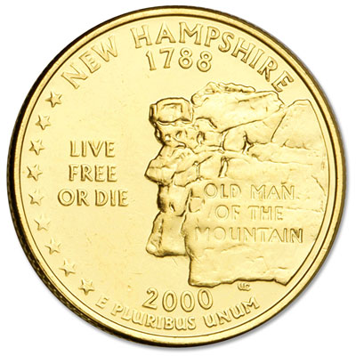 Image for 2000 Gold-Plated New Hampshire Statehood Quarter from Littleton Coin Company