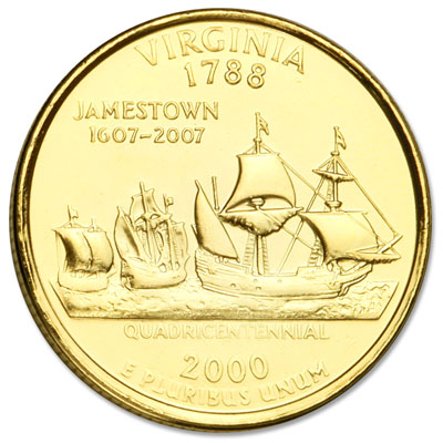 Image for 2000 Gold-Plated Virginia Statehood Quarter from Littleton Coin Company