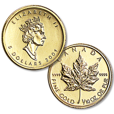 Image for 1982-Date Canada 1/10 oz Gold $5 Maple Leaf from Littleton Coin Company