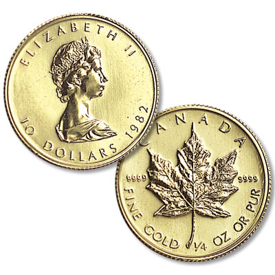 Image for 1982-Date Canada 1/4 oz Gold $10 Maple Leaf from Littleton Coin Company