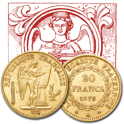 Image for 1871-1898 France 20 Francs Gold Angel, Circulated from Littleton Coin Company