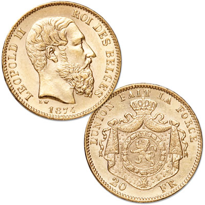 Image for 1867-1882 Belgium Gold 20 Francs in Air-Tite from Littleton Coin Company