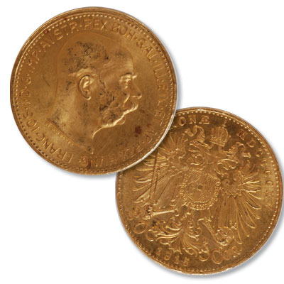 Image for 1915 Austria Gold 20 Corona Re-strike from Littleton Coin Company
