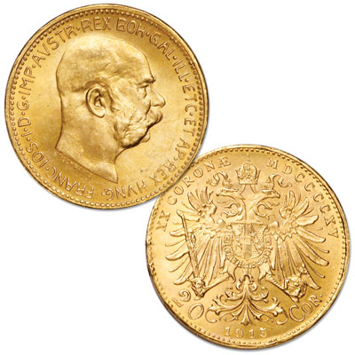 Image for 1915 Austria Gold 20 Corona Re-strike in Air-Tite Holder from Littleton Coin Company