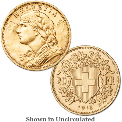 Image for 1897-1949 Switzerland Gold 20 Francs from Littleton Coin Company