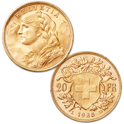 Image for 1897-1949 Switzerland Gold 20 Francs in Air-Tite from Littleton Coin Company