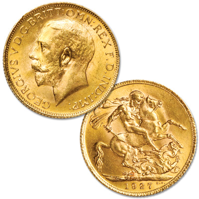 Image for 1911-1932 Great Britain Gold Sovereign, King George V, Circulated from Littleton Coin Company