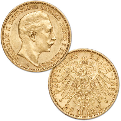 Image for 1888-1915 Germany Gold 20 Marks from Littleton Coin Company