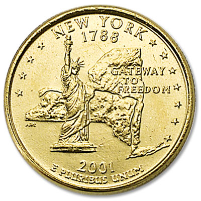 Image for 2001 Gold-Plated New York Statehood Quarter from Littleton Coin Company