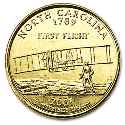 Image for 2001 Gold-Plated North Carolina Statehood Quarter from Littleton Coin Company