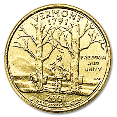 Image for 2001 Gold-Plated Vermont Statehood Quarter from Littleton Coin Company
