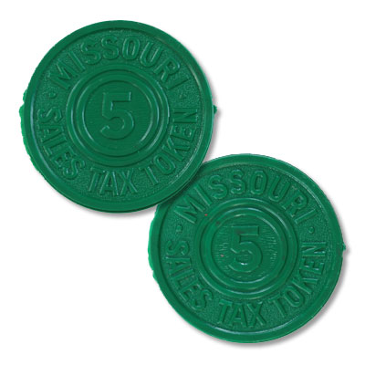 Image for Missouri 5 Mill Green Plastic State Tax Token from Littleton Coin Company