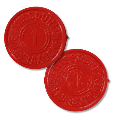 Image for Missouri 1 Mill Red Plastic State Tax Token from Littleton Coin Company
