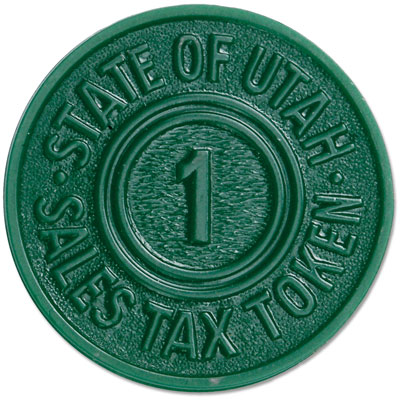 Image for Utah 1 Mill Green Plastic State Tax Token from Littleton Coin Company