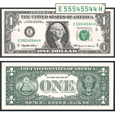 Image for $1 Federal Reserve Binary Note from Littleton Coin Company