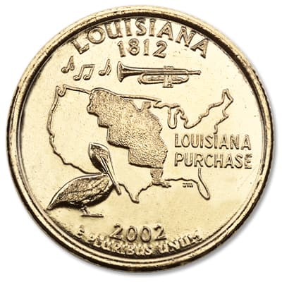 Image for 2002 Gold-Plated Louisiana Statehood Quarter from Littleton Coin Company