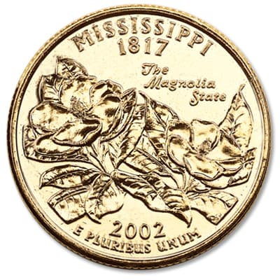 Image for 2002 Gold-Plated Mississippi Statehood Quarter from Littleton Coin Company